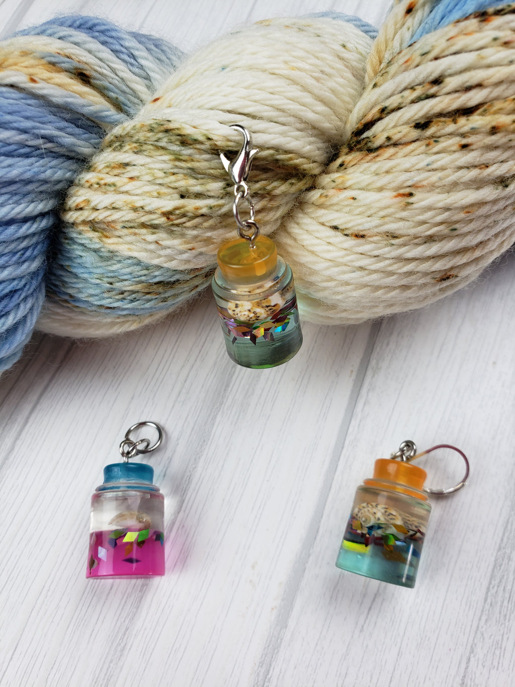 Wish Bottle Charms, Set of 3 - Spindle warps yarns