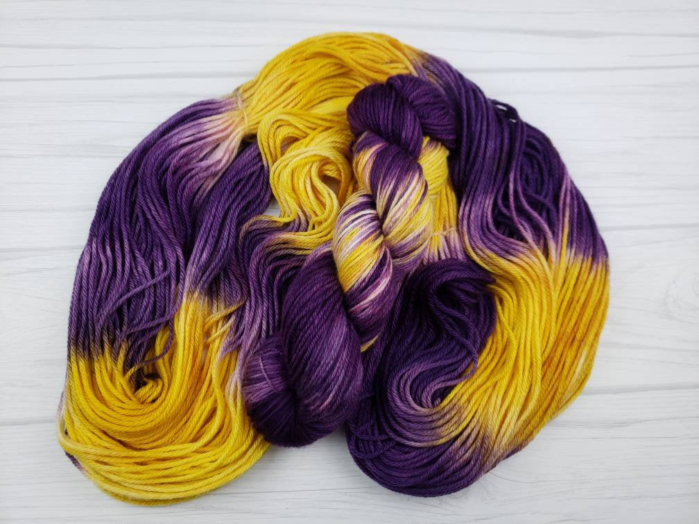 Purple People Eater, Hand Dyed Yarn in Worsted Weight - Spindle warps yarns