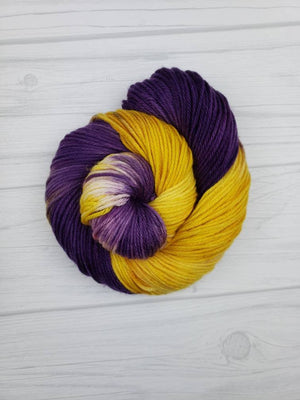 Purple People Eater, Hand Dyed Yarn in DK Weight - Spindle warps yarns