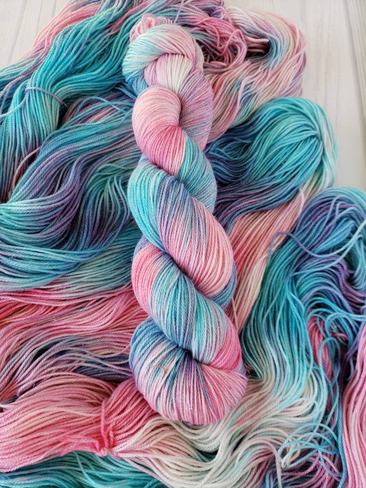 Cotton Candy Unicorn Fart, Hand Dyed Yarn in DK Weight - Spindle warps yarns