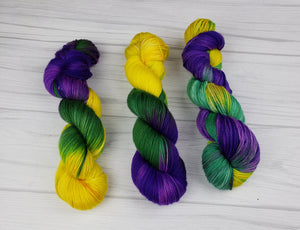 It's Mardi Gras Ya'll, Hand Dyed Yarn in Sock Weight - Spindle warps yarns