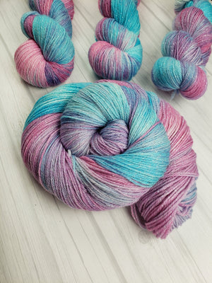 Cotton Candy Unicorn Fart, Hand Dyed Yarn in Sock Weight - Spindle warps yarns