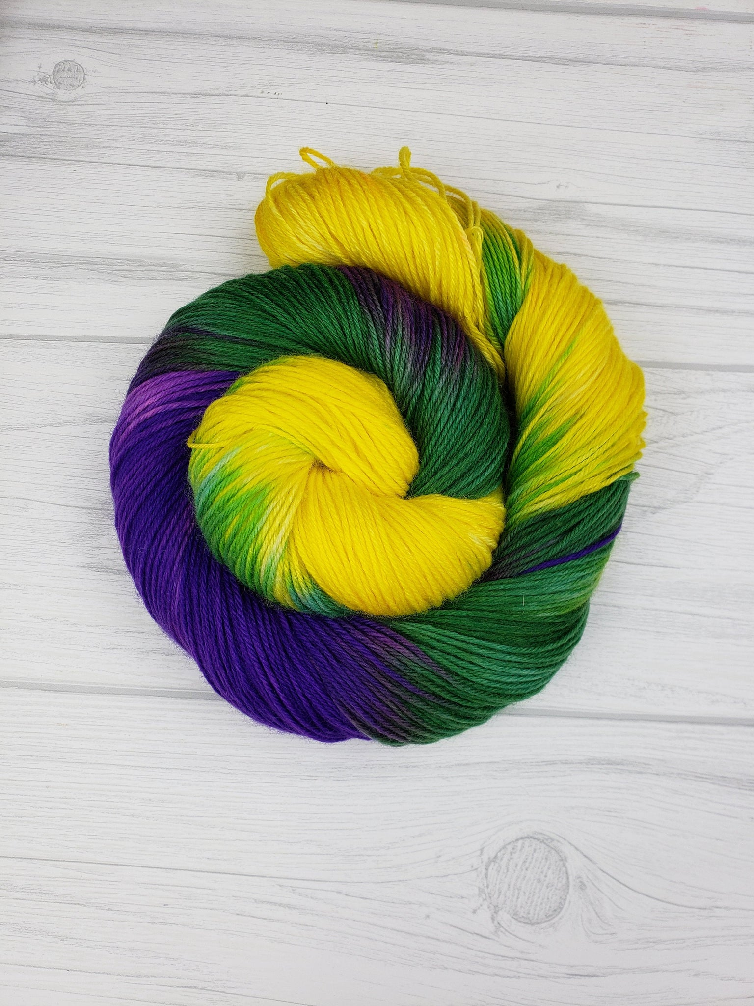 It's Mardi Gras Ya'll, Hand Dyed Yarn in DK Weight - Spindle warps yarns