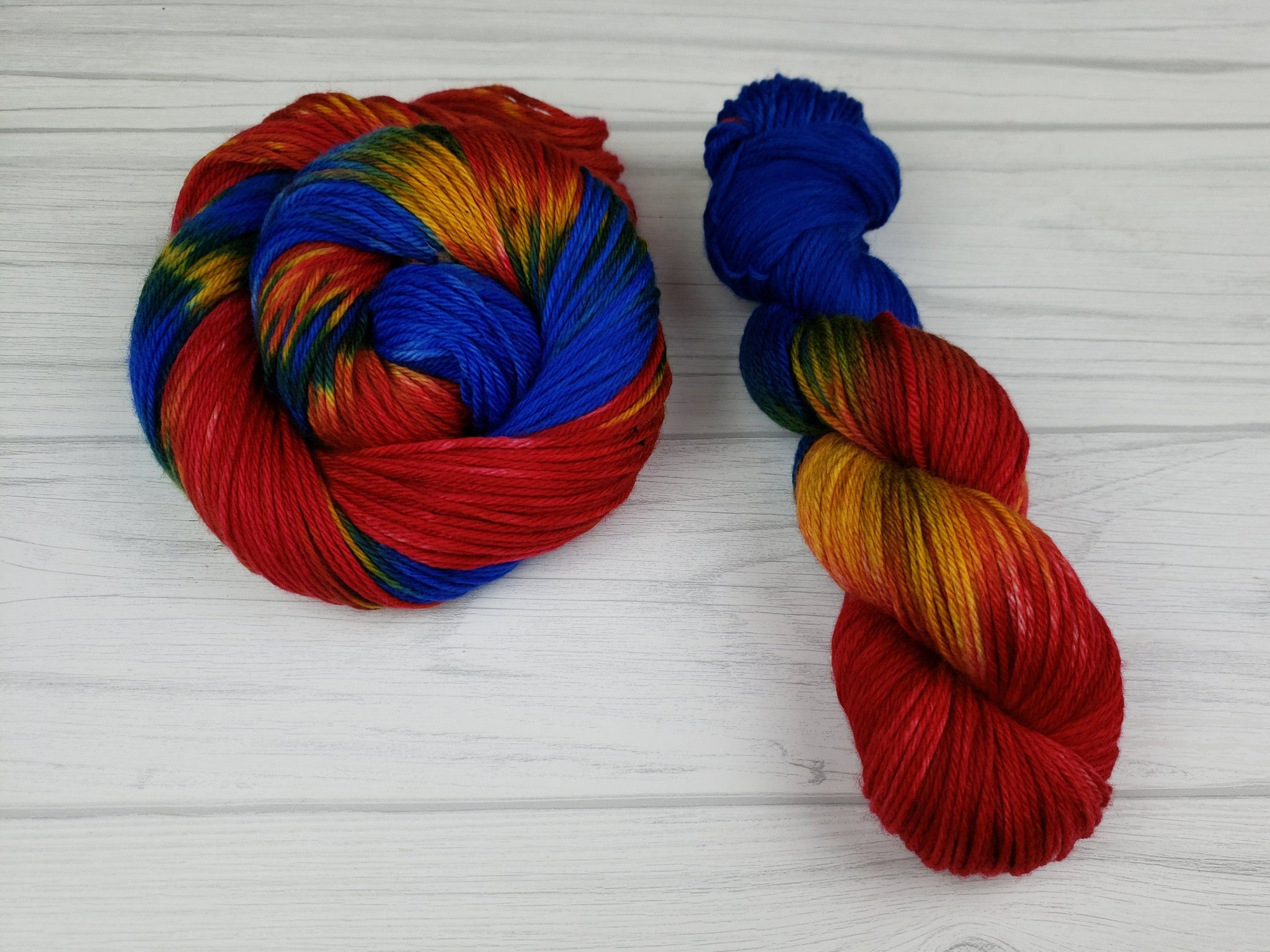 Captain Marvel, Hand Dyed Yarn in Sock Weight - Spindle warps yarns