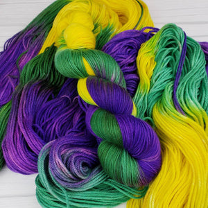 It's Mardi Gras Ya'll, Hand Dyed Yarn in Worsted Weight - Spindle warps yarns
