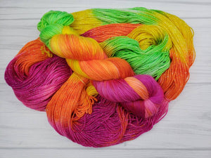 Neon Starburst, Hand Dyed Yarn in Sock Weight - Spindle warps yarns