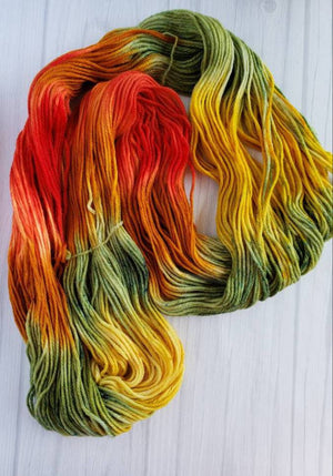 Fall in Avonlea, Hand Dyed Wool in DK Weight - Spindle warps yarns