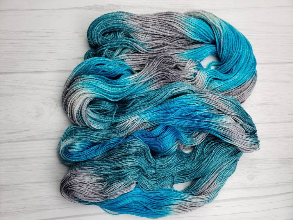 Sea Goddess, Hand Dyed Yarn  in Sock Weight - Spindle warps yarns