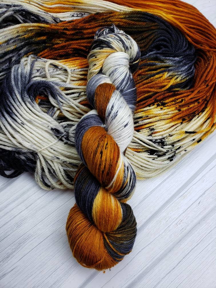 Leopard Spot Sundae, Hand Dyed Yarn in Sock Weight - Spindle warps yarns
