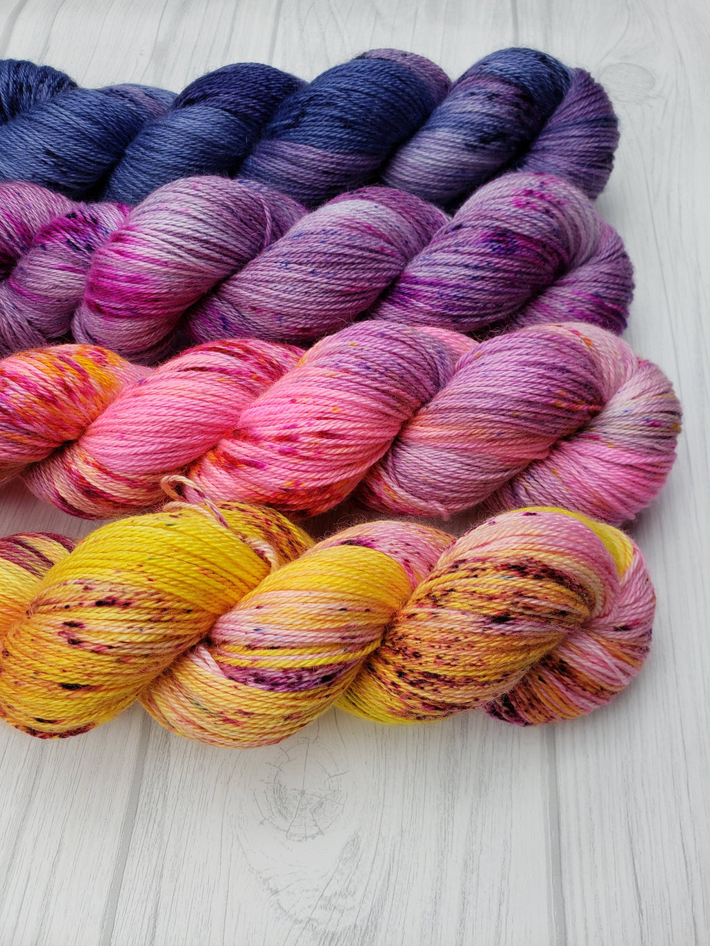 Seattle Sunrise, Hand Dyed Fade Set in Sock Weight - Spindle warps yarns