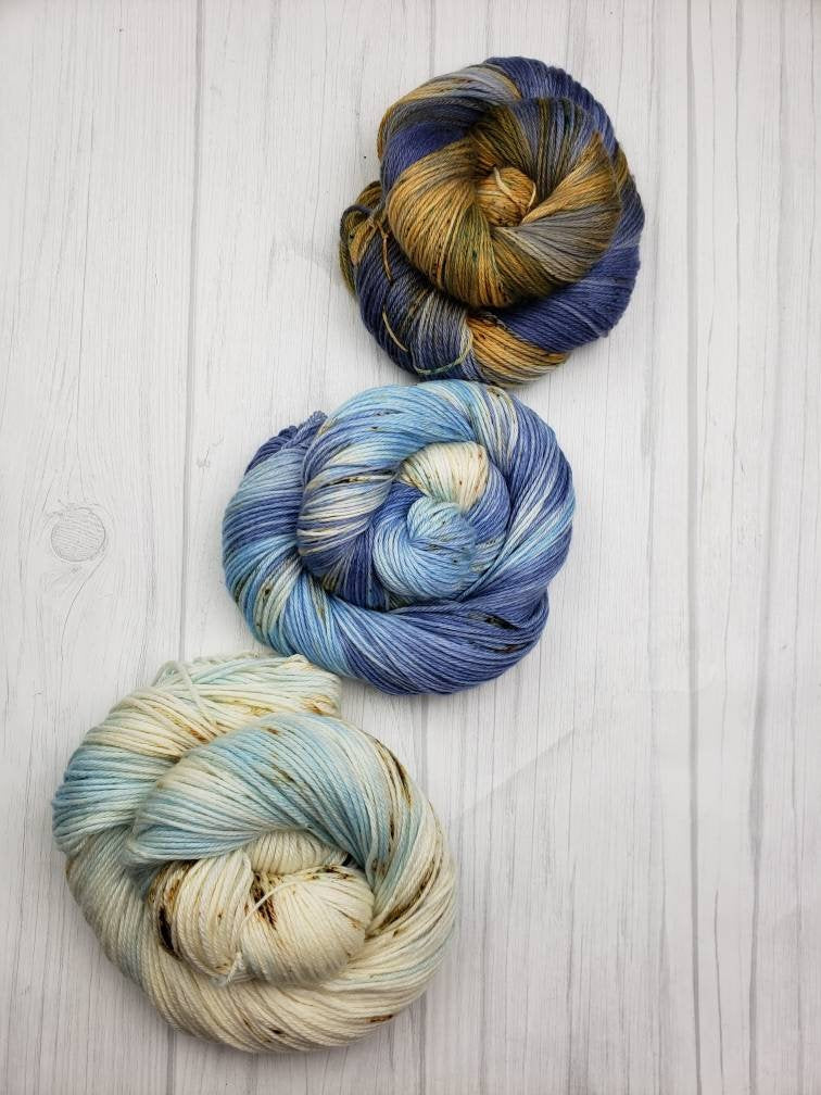 Gray Havens, Hand Dyed Fade Set in DK Weight - Spindle warps yarns