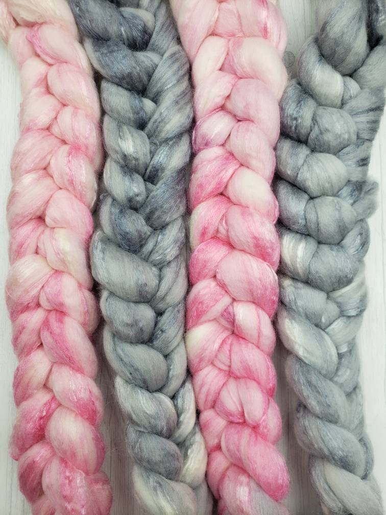 Tiny Dancer Merino/Tussah Silk 80/20 Hand Dyed Fiber - Spindle warps yarns