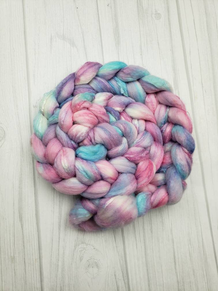 Unicorn Mane Merino/Tussah Silk 80/20 Hand Dyed Fiber - Spindle warps yarns
