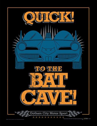 To the batcave framed print