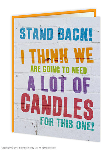 Stand back candles card