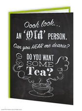 Old person tea card