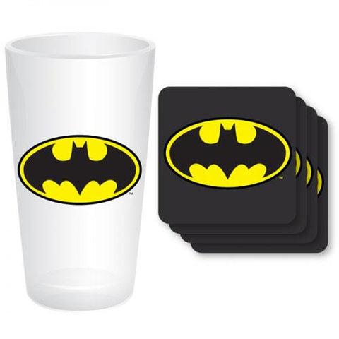 Batman glass & coaster set
