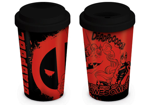 Deadpool unicorn travel mug