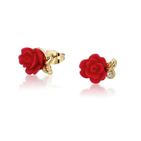 B&TB Red Rose Studs Gold
