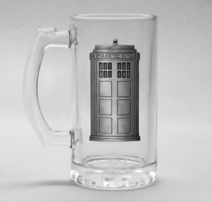 Dr Who Tardis glass stein