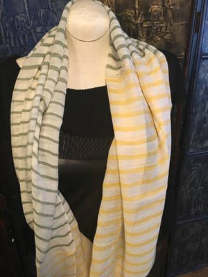 Green & Yellow Striped Infinty Scarf