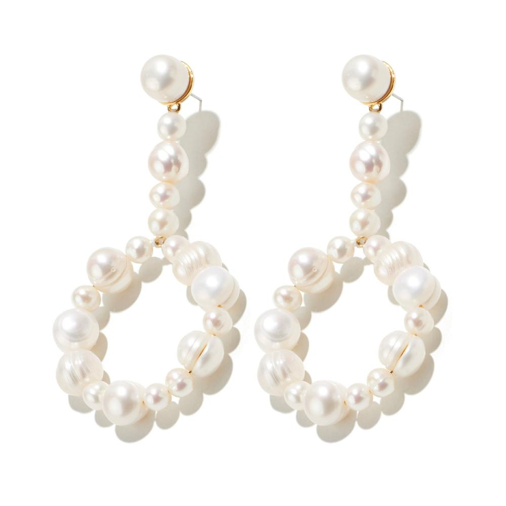Freshwater Pearl Drop Hoop Earrings/Lele Sadoughi