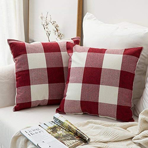 Classic Retro Pillow in Red Plaid - Set of 2