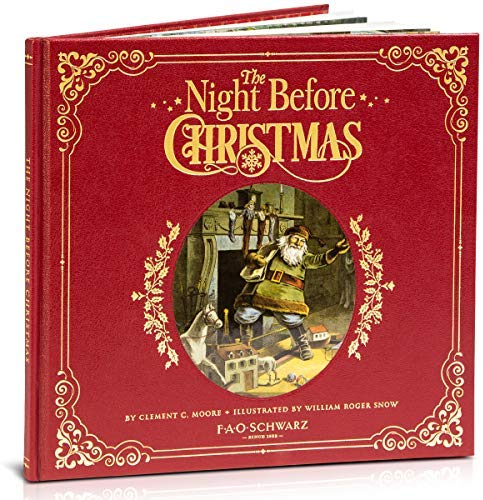 """The Night Before Christmas"" Genuine Red Leather-Bound Book/FAO Schwarz"