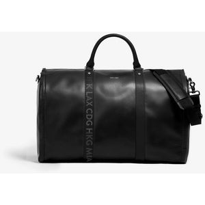 Men's Black Leather Airport Code Garment Weekender Bag/Hook & Albert