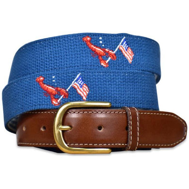 Patriotic Pinchers Embroidered Belt - Beige/Bird Dog Bay
