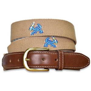 Beach Bash Embroidered Belt - Beige/Bird Dog Bay