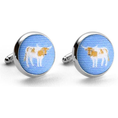 Longhorn Woven Club Cufflinks in Blue/Bird Dog Bay