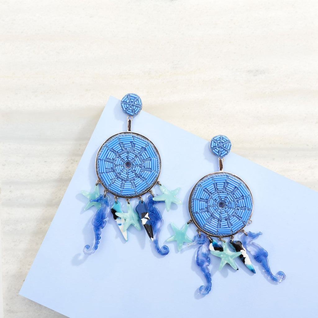 Blue and Silver Phoebe Lux Earring/Mignonne Gavigan
