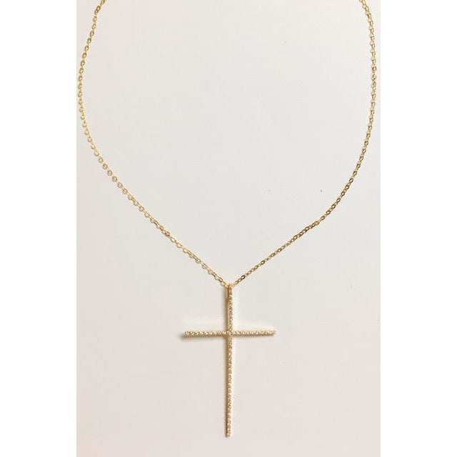 Gold Cross Necklace/Leslie de la Mora