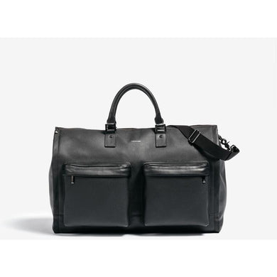 Men's Black Leather Garment Weekender Bag/Hook & Albert