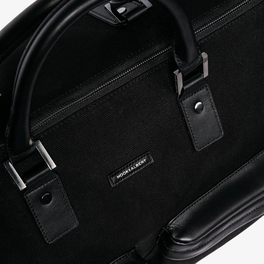 Men's Black Twill Garment Weekender Bag/Hook & Albert