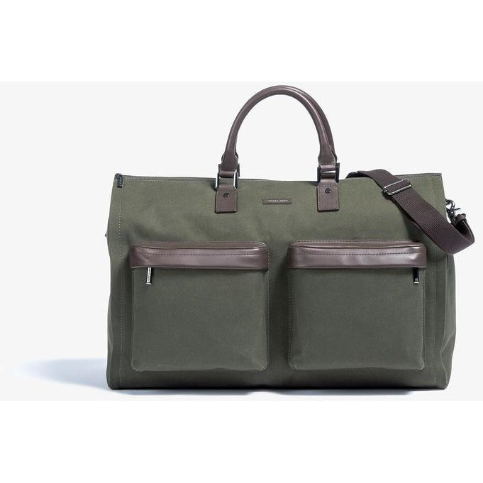 Men's Olive Twill Garment Weekender Bag/Hook & Albert