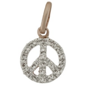 14k Rose Gold Diamond Peace Necklace