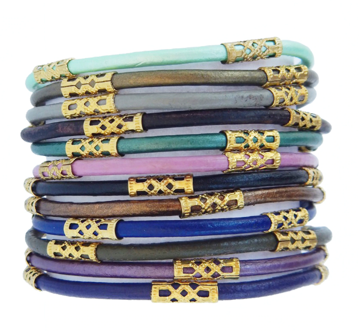 Chloe Earth Leather Bracelet (Set of 12)/Helene Thomas