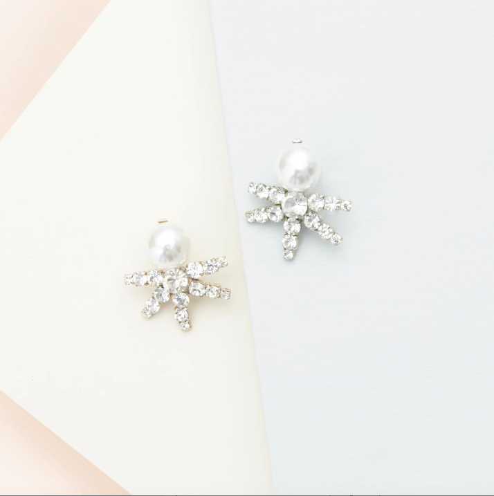Lila Pearl Earrings in White|Mignonne Gavigan