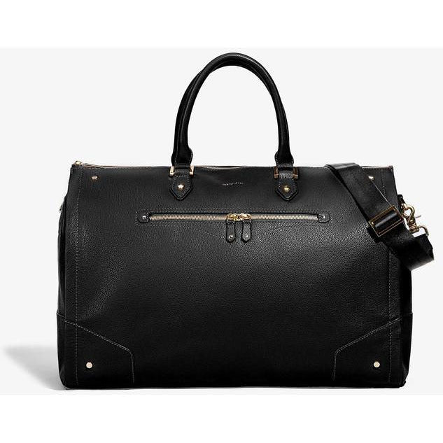 Women's Black Leather with Gold Hardware Weekender Bag/Hook & Albert