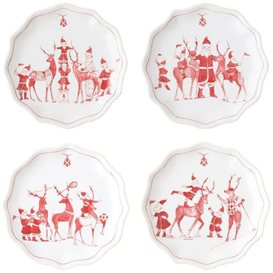 Country Estate Reindeer Games Tidbit Plates Set/Juliska