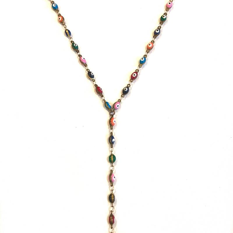 Evil Eye Multi Color Lariat/Nikki Smith Designs