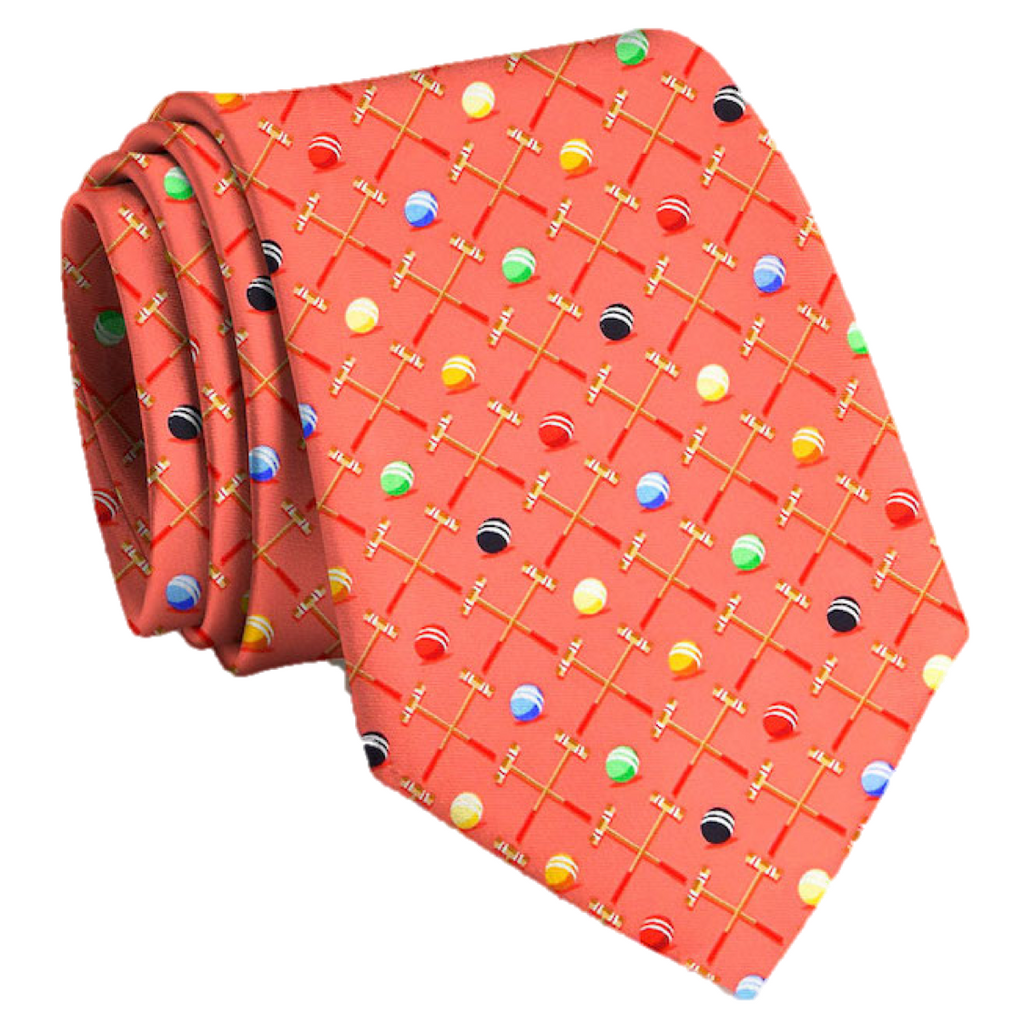 Croquet Sunday Tie-Coral/Bird Dog Bay