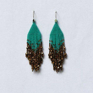 Ombre Turquoise Bronze Small Fiero Earrings/Huichol Love
