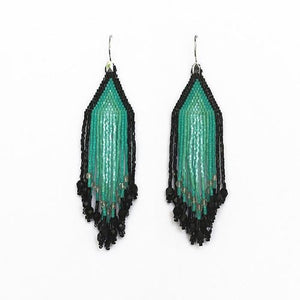 Turquoise and Black Small Fiero Earrings/Huichol Love
