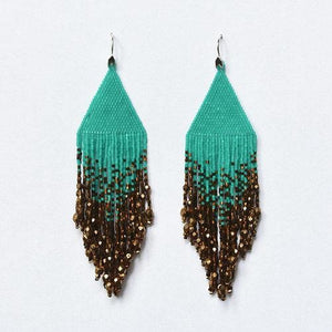 Ombre Turquoise Bronze Large Fiero Earrings/Huichol Love