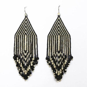 Black and Cream Stripes Large Fiero Earrings/Huichol Love