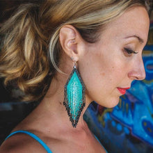 Turquoise and Black Large Fiero Earrings/Huichol Love