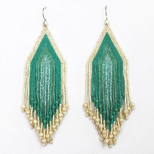 Turquoise and Cream Large Fiero Earrings/Huichol Love